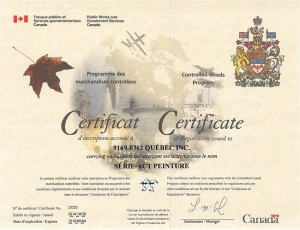 Certificat Controlled Goods