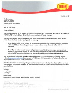 Certificat Lettre Approbation Tiger